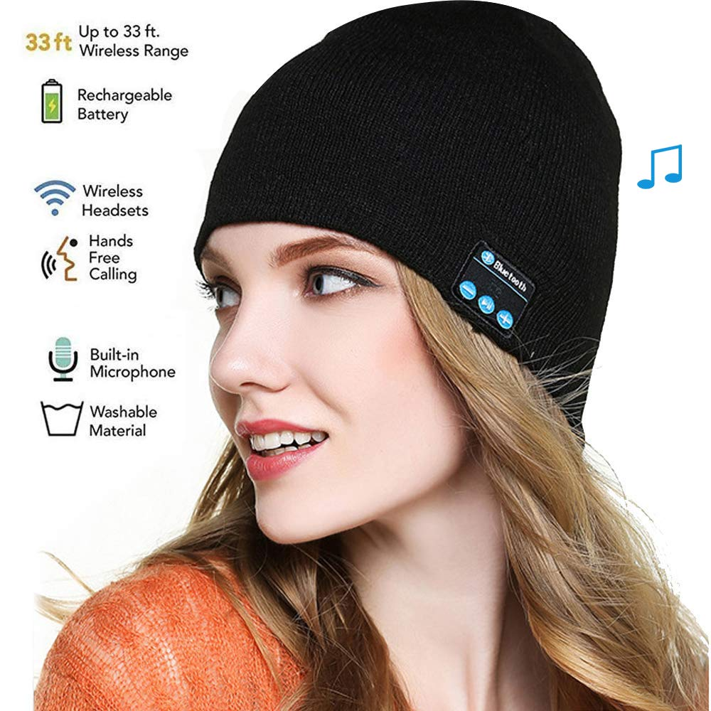 Bluetooth Beanie, Bluetooth Hat,Women Mens Gifts Winter Knitted Beanie Cap with Wireless 5.0 Stereo Earphone Headphone for Running Skiing,Thanksgiving Day for Men Women,Teenagers,Lover