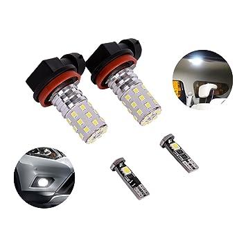 LED Niebla Luz Bombillas, eyourlife de alta potencia H11 H8 muy brillante bombillas LED 800lm para DRL o luces antiniebla, xenón blanco (H11 H8): Amazon.es: ...