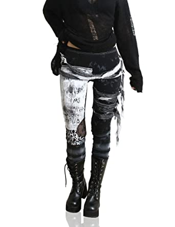 5887d122006aed Refuse to be Usual women's Ultra long Tie Dye Gothic Punk Leggings Black  Small