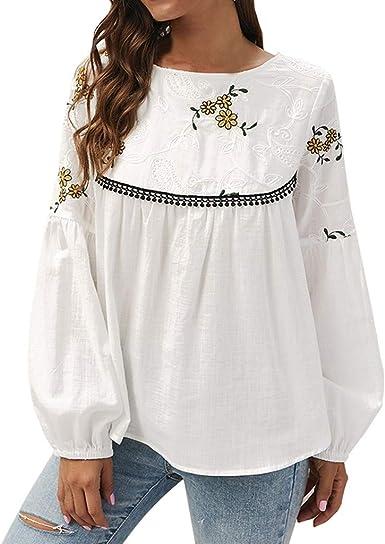 Blusas para Mujer Camisa Top Bordado De Flores Estampada De Flojo Camisas De Manga Larga con Cuello En V Y Estampado Floral para Mujer Blusas Sueltas Ocasionales OtoñO Casual Tops: Amazon.es: Ropa