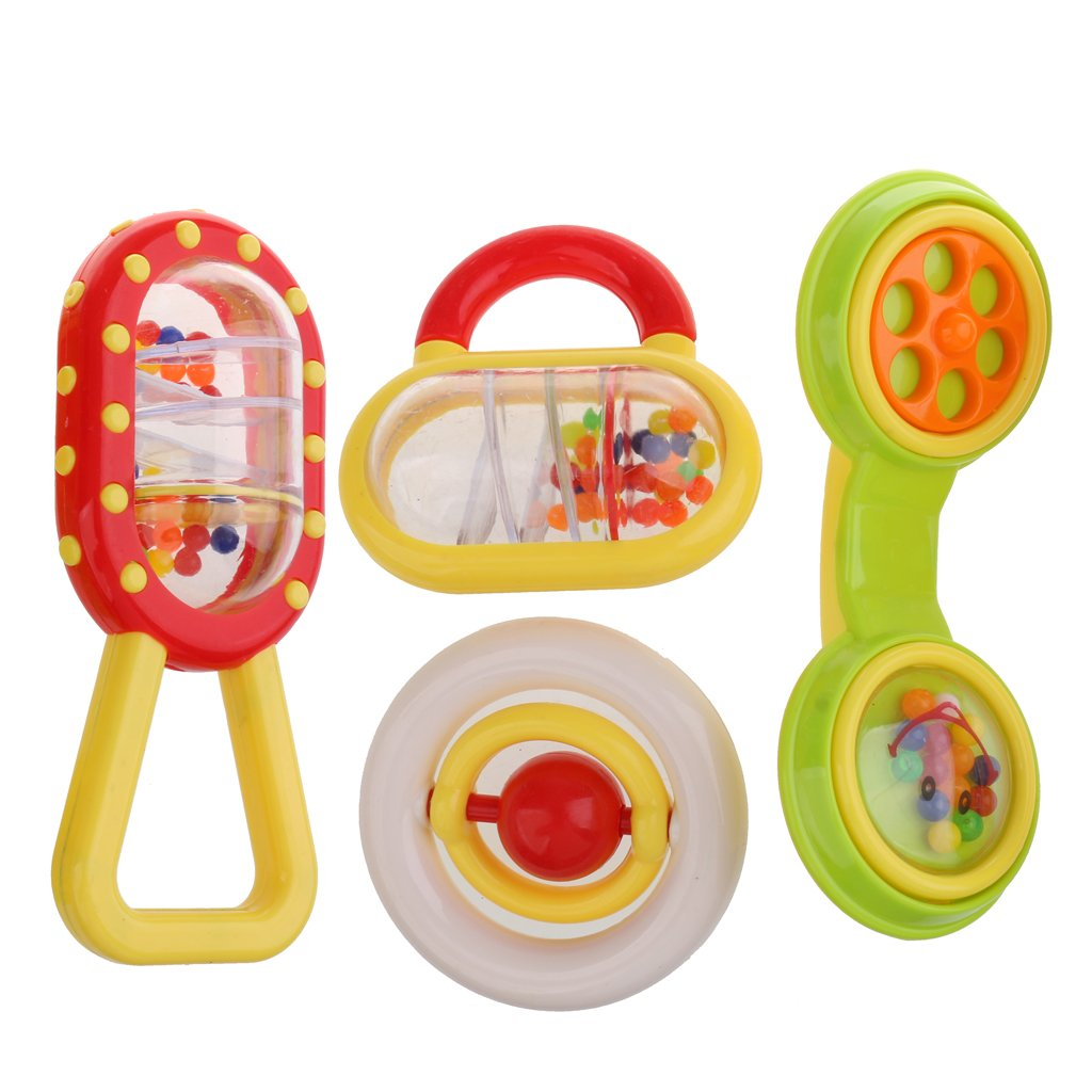 monkeyjack 4 Pieces Developmentalトイ赤ちゃん幼児用Rattle HandbellベッドベルComforting Crib Pram Toys Pretendゲーム小道具ギフト   B0784CL5GL
