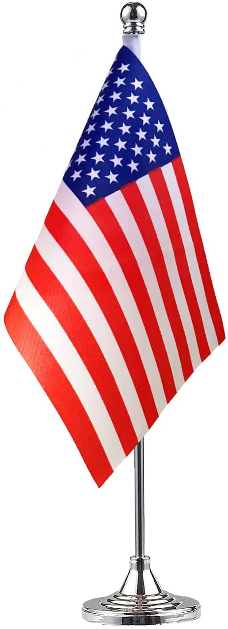 No Logo USA US American Stand Base Flag Table Desk Flag,Metal Stand and Base and Country Flag Banners,for Home Garden Office Decoration, Festival Celebrations.