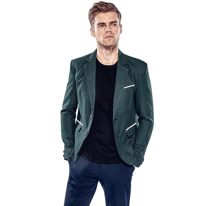 Amazon.com: TAGGMY - Chaqueta para hombre Slim Fit Fashion ...