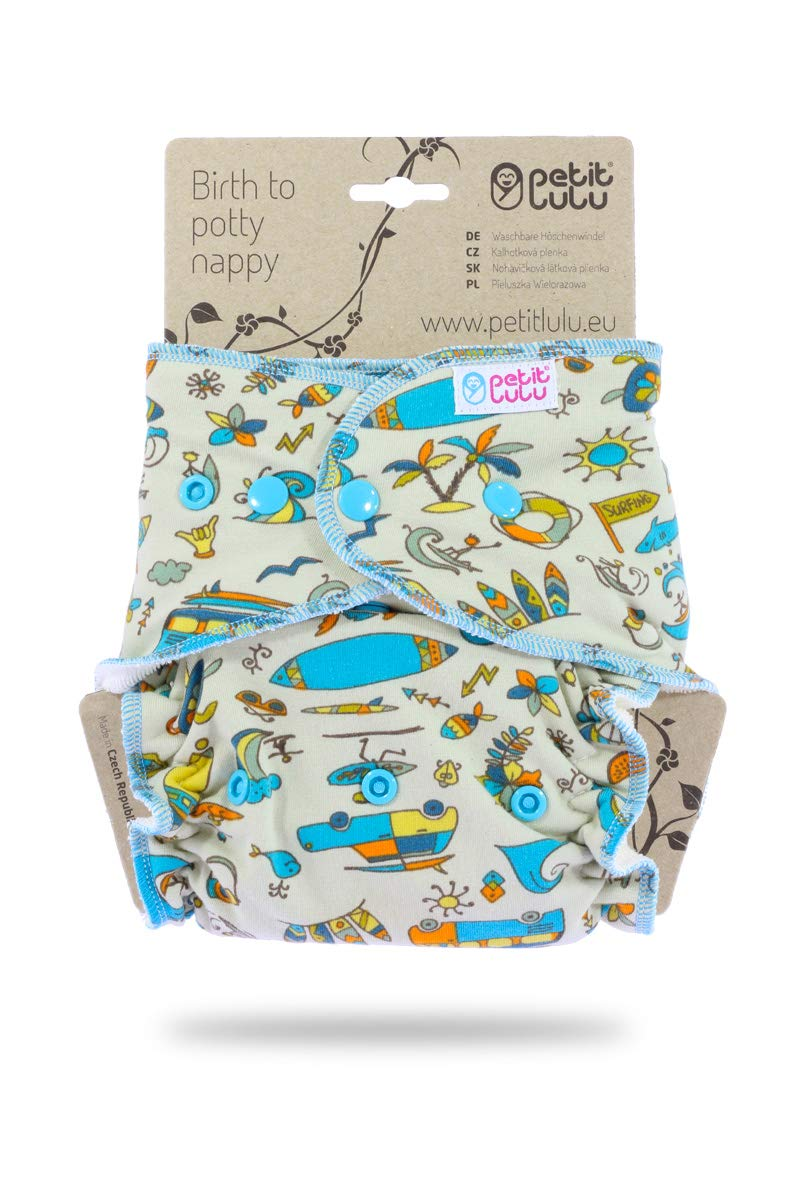 Petit Lulu Bamboo Fitted Maxi-Night Diaper Snaps| Reusable /& Washable Pirates Made in Europe