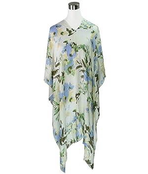 Brush Stroke Floral Print Tunic Poncho