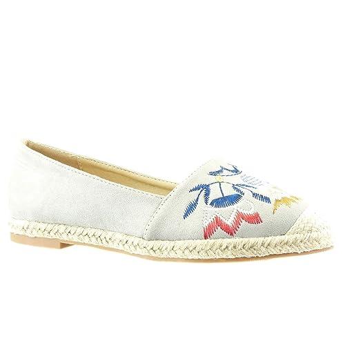 Angkorly - Zapatillas Moda Alpargatas Mocasines Slip-on Mujer Bordado fantasía Cuerda Tacón Ancho 2 CM - Gris RS124 T 36: Amazon.es: Zapatos y complementos