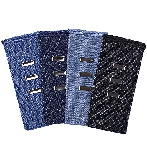 Pants Waist Extenders 4-Pack, Hook Extenders for Pants, Dress, Khakis and Jeans, Adjustable Fit Men or Women