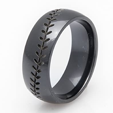 black zirconium baseball wedding band 8mm comfort fit 8