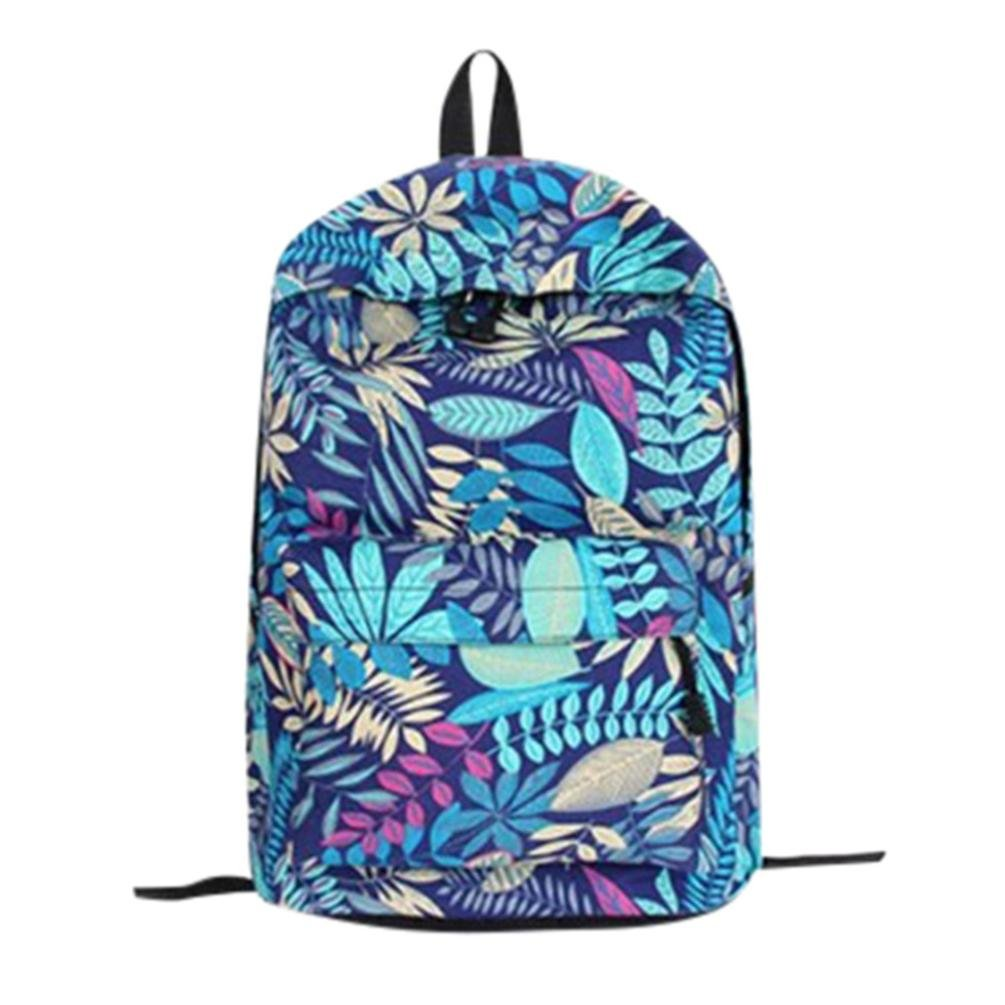 lotus.flower 2018 Leaves Printing Sport Backpack Student Bag Shoulder Bag Sport School Bags Lightweight for Lovers Adult Children Boys Girls (Blue)