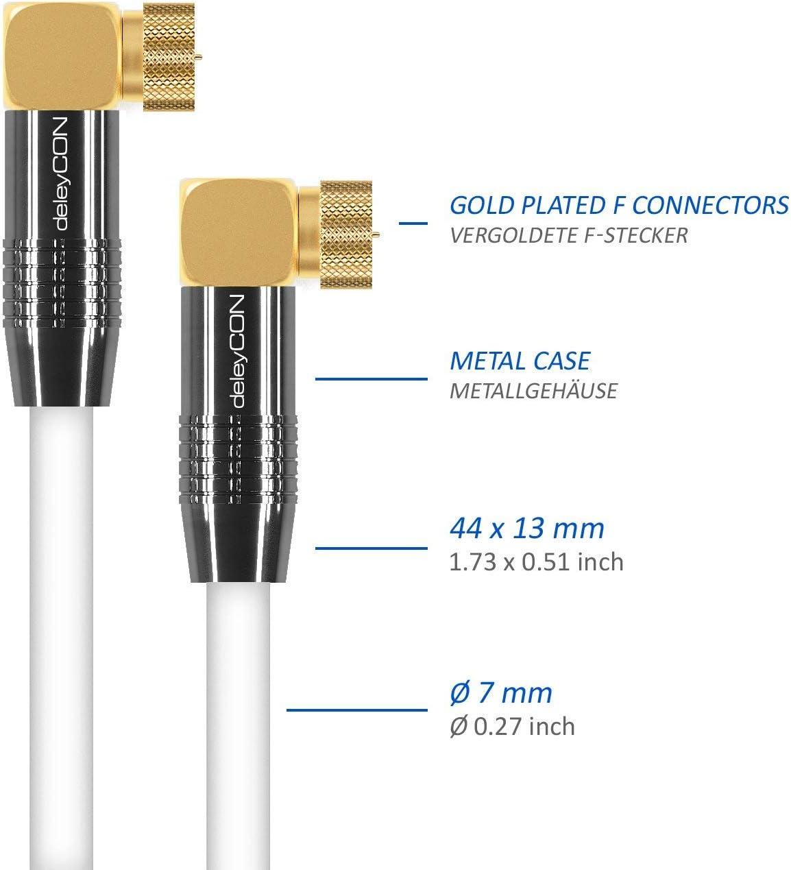 Conector F - Conector Met/álico a Conector F 90/° Grado 90/° Grado deleyCON 10m Cable de Antena Sat HDTV Cable de Sat/élite Cable Coaxial 2X en /Ángulo Negro