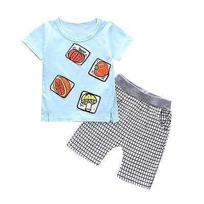 Minisoya Fashion Toddler Kids Baby Boys Summer Vegetable Fruit Printed Tops T Shirt Plaid Shorts