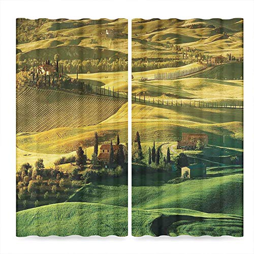 Tuscan Decor Collection,Peaceful Landscape of Pienza Tuscany Vineyard Trees Meadow Hill Ancient House,for Living Room, 2 Panel Set,103W X 72L Inches