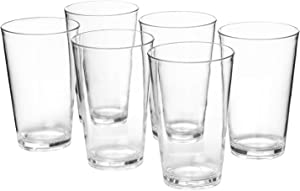 18-ounce Plastic Tumblers Water Juice Cups Dishwasher Safe BPA-free Clear Set of 6 Premium Quality Drinking Glasses