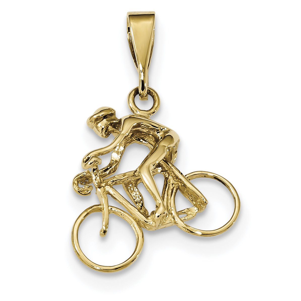 ICE CARATS 14k Yellow Gold Bicyclist Pendant Charm Necklace Travel Transportation Fine Jewelry Gift For Women Heart