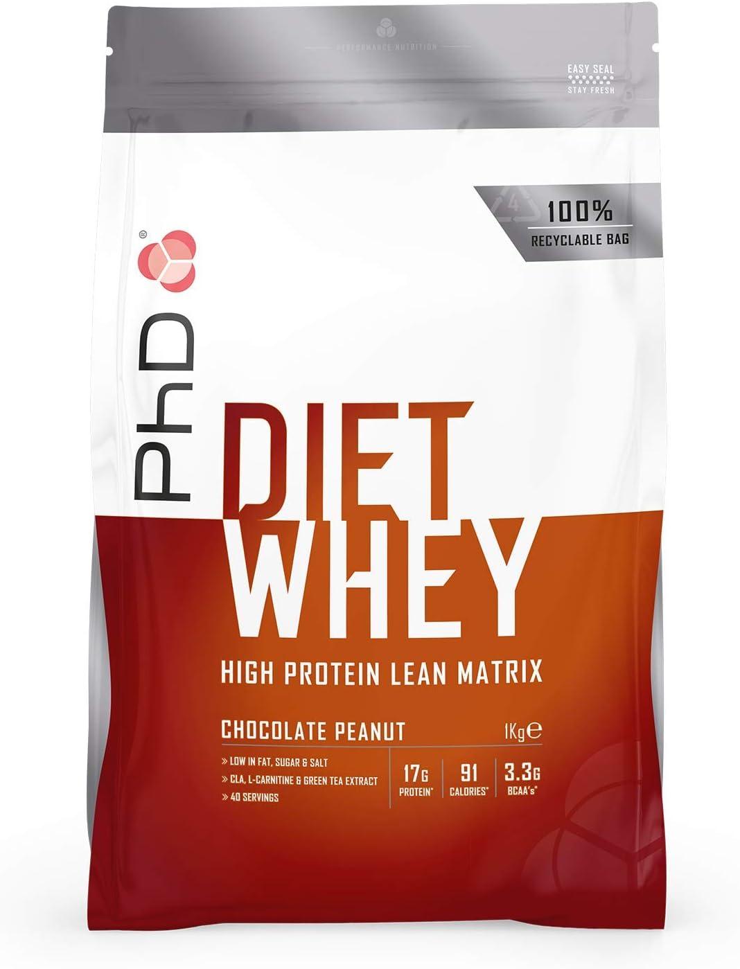 PhD Nutrition Proteína Whey, 40 Porciones, Proteína Magra En Polvo - Maní Chocolate 1Kg