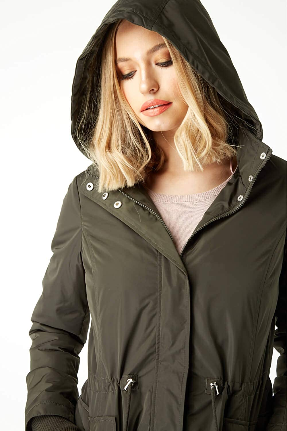 Roman Originals Women Zip Pocket High Neck Parka Coat Ladies Smart Casual Everyday Hooded Toggle Drawstring Long Sleeve Showerproof Quilted Padded Coats