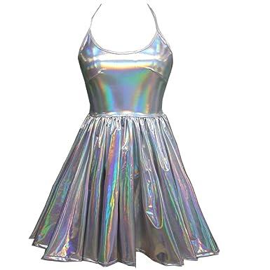 bb2cb898740 Pinda Summer Musical Festival Rave Clothes Holographic Wrap Circle Skater  Dress (M