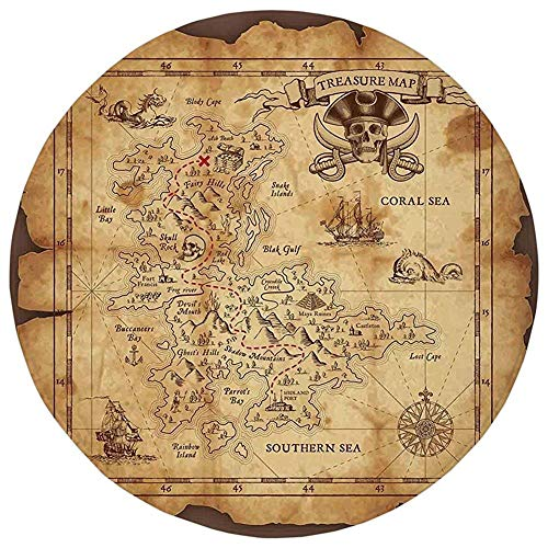 Round Rug Mat Carpet,Island Map,Super Detailed Treasure for sale  Delivered anywhere in Canada