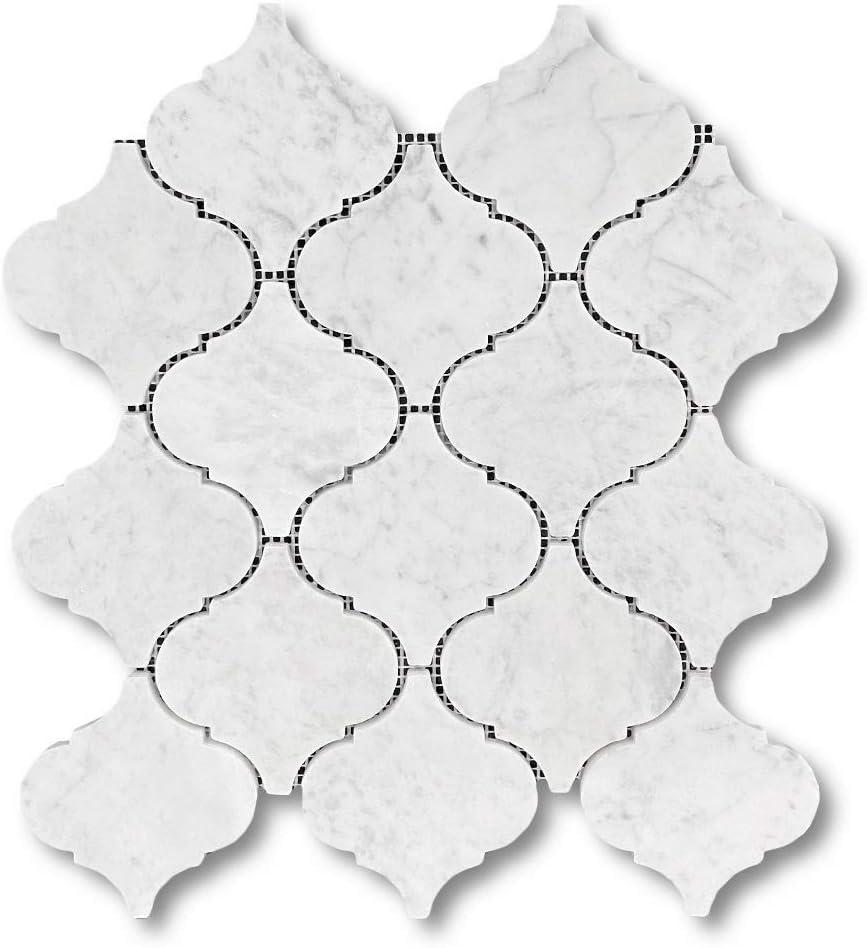Stone Center Online Calacatta Gold Italian Calcutta Oro Marble Arabesque Baroque Grand Lantern Shape Mosaic Tile Polished Borghini Kitchen Backsplash Bathroom Floor Tile