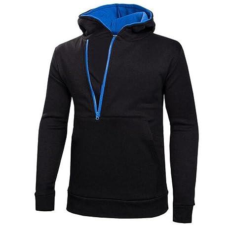 Malloom® Hombres chaqueta jersey de cremallera lateral Sudadera con capucha Chaqueta Abrigos Outwear (azul
