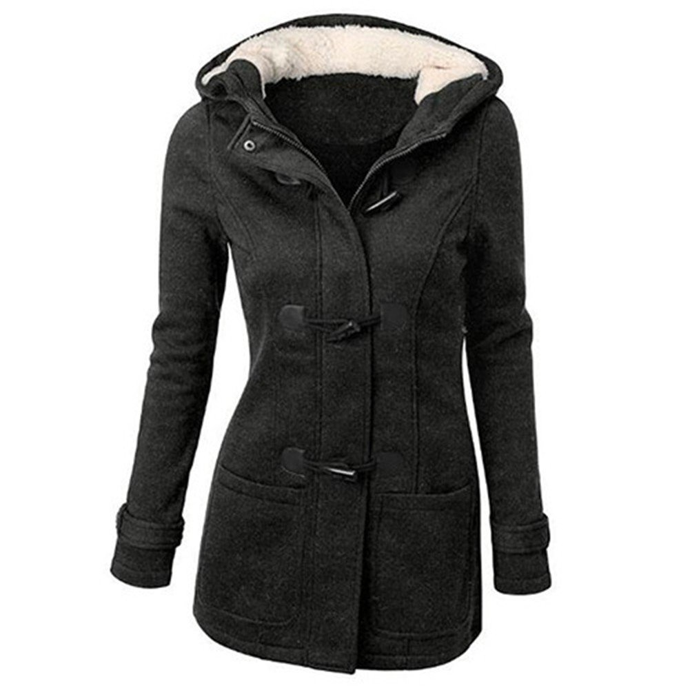 Blackzone Women's Coat Jacket Winter Classic Style Flocked Hooded Toggle Duffle Coat Jacket Outerwear