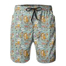 Vvw4 Cute Mermaid Boy Pattern Breathable Swim Board Beach Shorts Bathing Swimming Trunks With Poket For Men