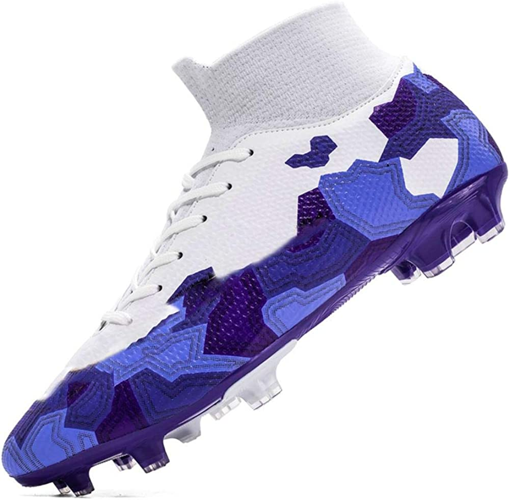 RNNG Unisexs AG Cleats Non-Slip Long Studs High-Top Football Training Athletic Soccer Shoes for Youth
