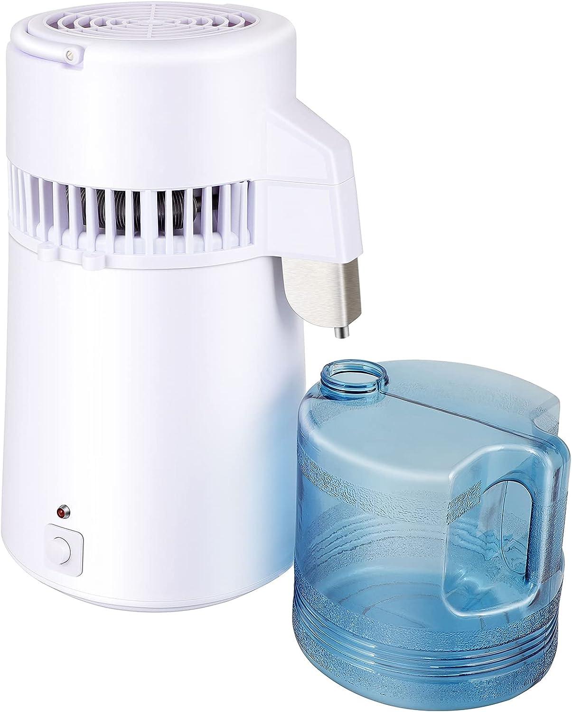 GPOAS 4L Water Distiller With Mechanical Button Countertop Desktop Distilled Water Machine Water Distiller Purifier For Baby Water Home Office
