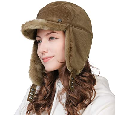 1448543dbbd0e Winter Trapper Hat for Women Baseball Cap with Ear Flaps Elmer Fudd Hat Fur  Hunting Snow