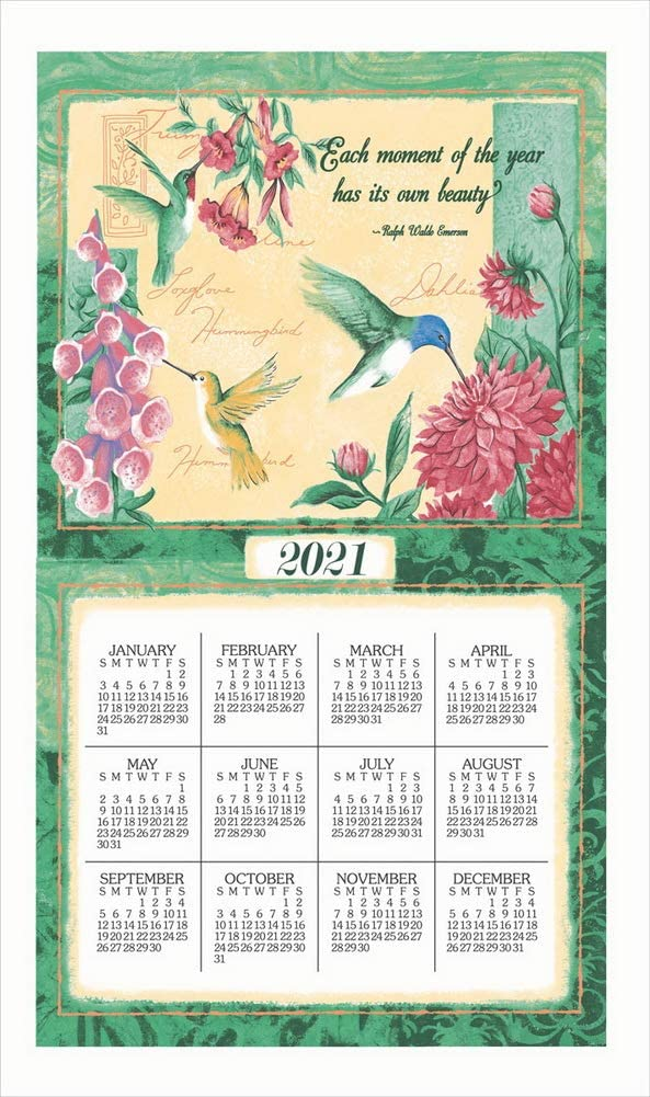 Kay Dee Designs 2021 Calendar Towel Wings & Blossoms, 17 x 27.5-Inches, Multi,1 each, F3334