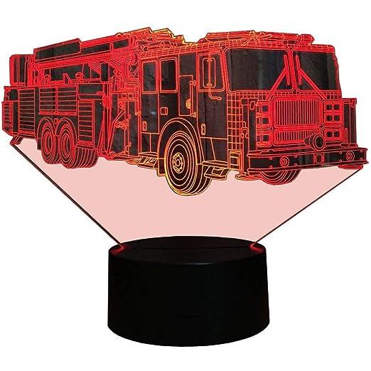 Illusion 3d Pompiers Camion Led Lampe Art Deco Lampe Lumieres Led