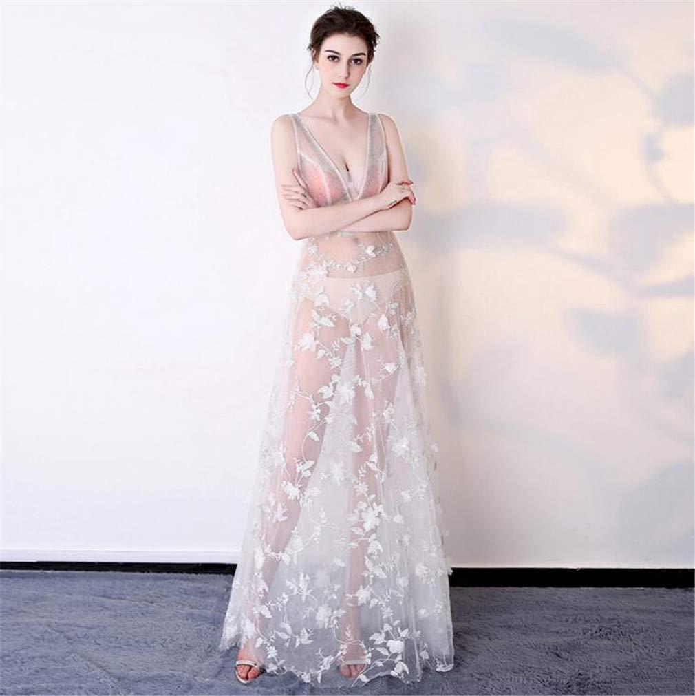 Vestido transparente largo de encaje y cuello en V. Opción de colores.