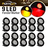 Partsam 2'' Round Led Marker Lights 9LED Reflectors Amber/Red, Kits, Grommet/Pigtails, Sealed Trailer Led Clearance and Side Marker Lights Multi faceted, 10 Amber + 10 Red (pack of 20)