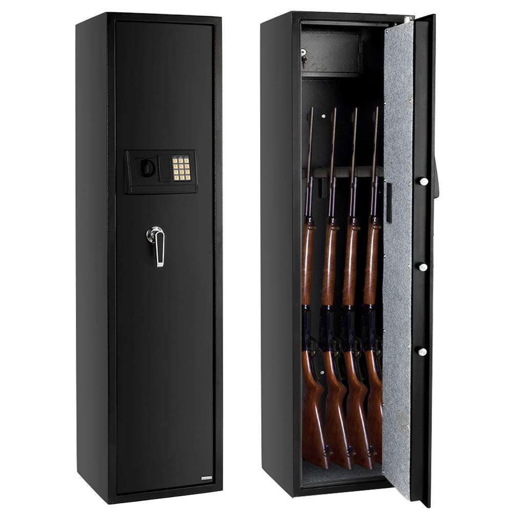 FCH Gun Safe Electronic 5-Gun Rifle Safe Large Firearm Safe Cabinet Quick Access Gun Storage Cabinet with Small Lock Box for Handguns Ammo┃Codes Memory Function┃Upgraded Package by FCH
