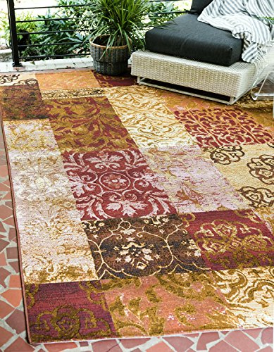 Unique Loom Outdoor Collection Patchwork Botanical Transitional Indoor and Outdoor Gold Area Rug (10' x 12')