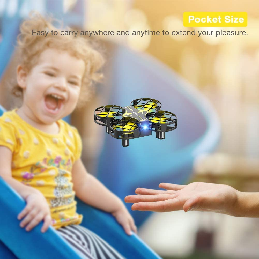 SNAPTAIN H823H Portable Mini Drone for Kids Speed Adjustment and 3 Batteries-Yellow RC Pocket Quadcopter with Altitude Hold Headless Mode 3D Flip