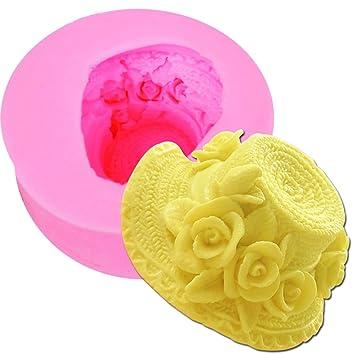 Molde de silicona para fondant, diseño de paja rosa, para tartas en 3D: Amazon.es: Hogar