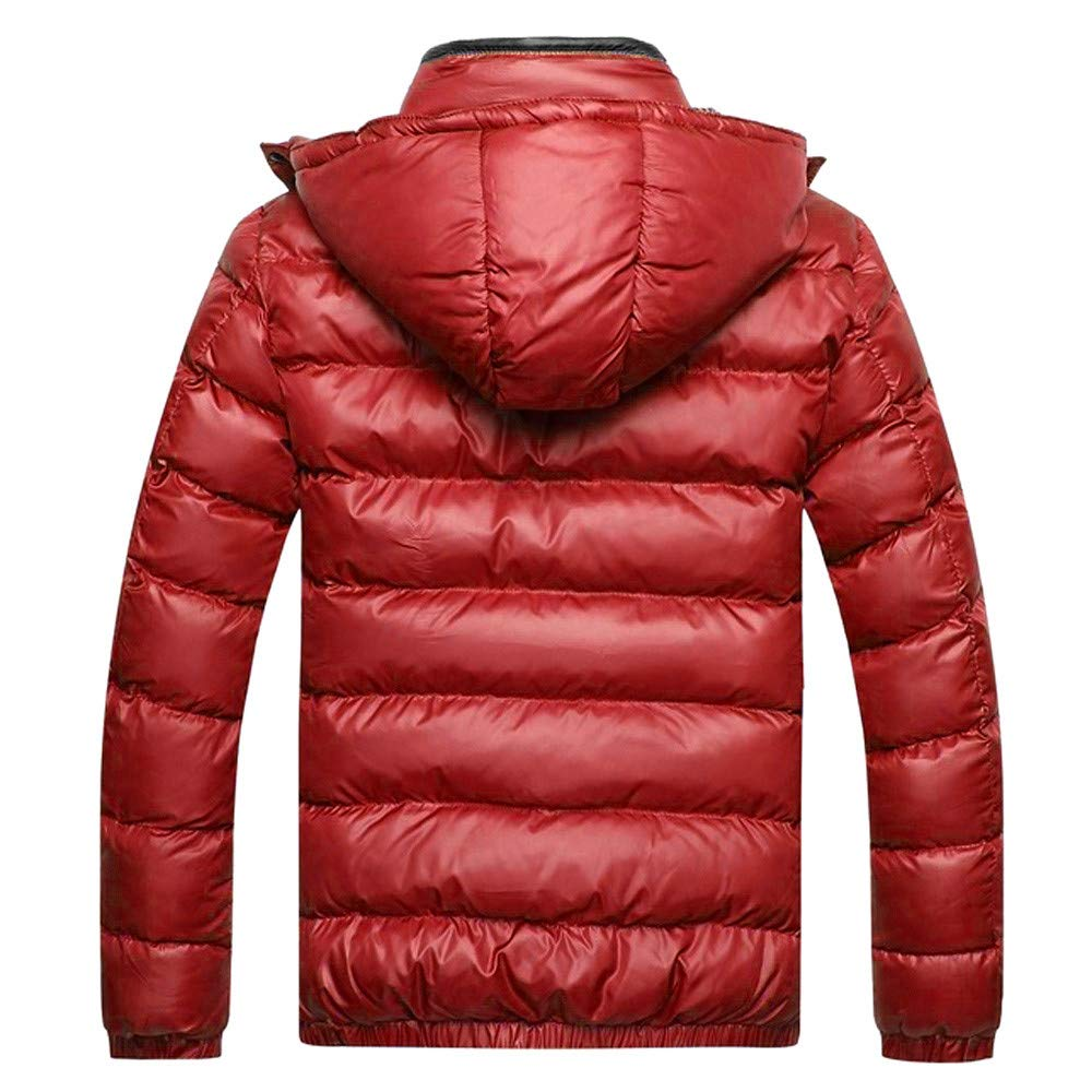 Hattfart Mens Winter Warm Thicken Cotton Coat Puffer Padded Jacket with Removable Hood