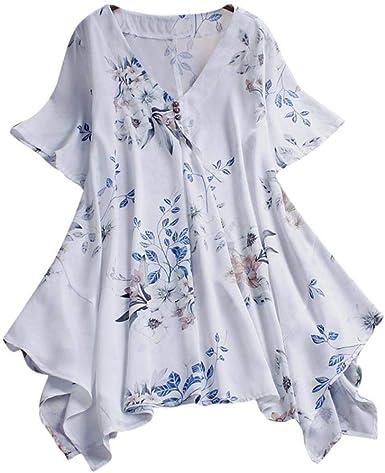 TUDUZ Blusas Mujer Manga Corta Verano Camisas Boho Casual Impresión Camisetas Playa Vendimia Moda: Amazon.es: Ropa y accesorios