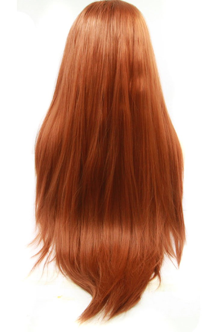 Amazon.com : Ebingoo #350 Long Natural Straight Copper Red Heat Resistant Synthetic Lace Front Wig for women 24 Inch : Beauty