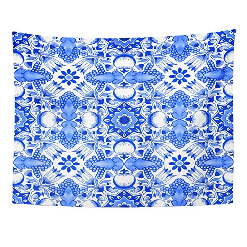 Breezat Tapestry Delft Blue Watercolour Traditional Dutch Floral with Tulips Pomegranates Grape Bunches Acorns Home Decor Wall Hanging for Living Room Bedroom Dorm 60x80 (Tulip Floral Tapestry)