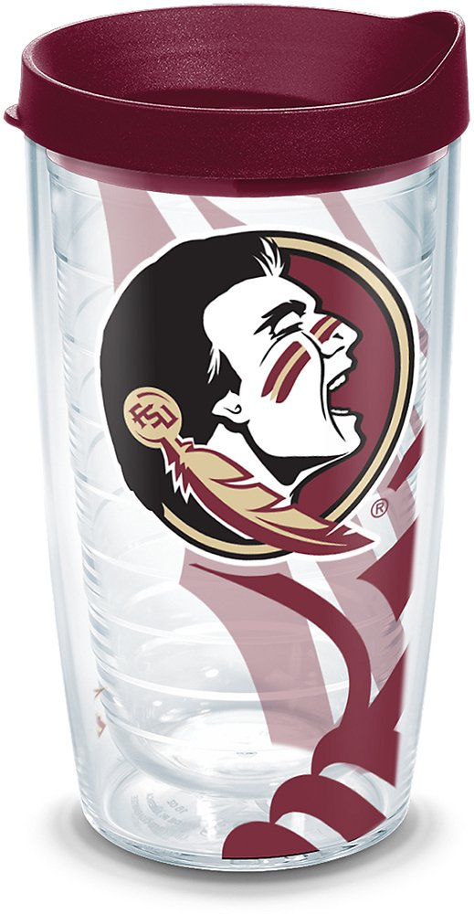Clear Tervis 1215250 Florida State Seminoles College Pride Tumbler with Wrap and Black Lid 16oz
