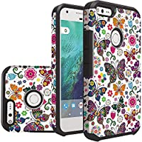 HR Wireless Cell Phone Case for Google Pixel XL - Colorful Butterfly Flower Polka Dot Floral