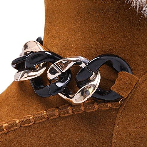 BalaMasa Ladies Fur Collar Metal Ornament Platform Frosted Boots Yellow TgkAd2