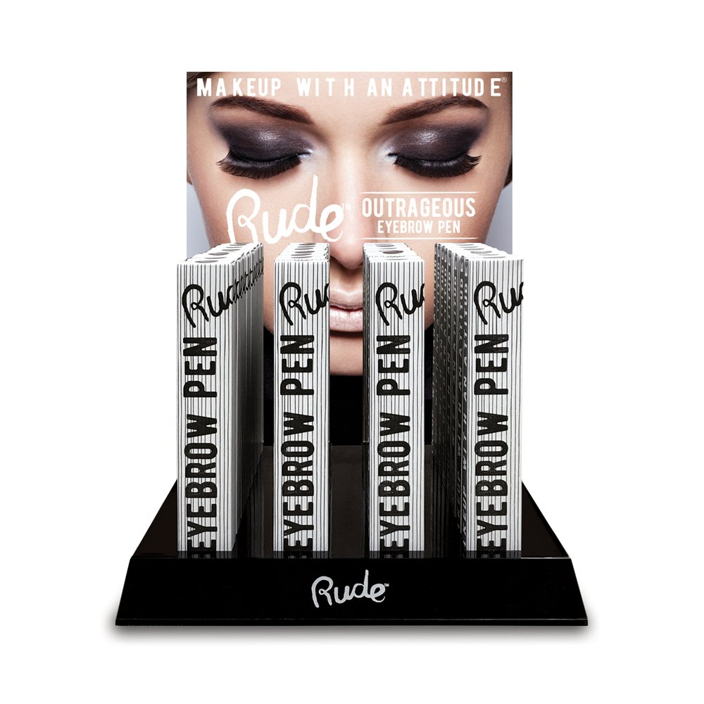 RUDE Outrageous Eyebrow Pen Acrylic Display Set, 48 Pieces