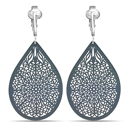 (Lovely Victorian Filigree Clip On Earrings for Women & Clip-ons, Lightweight Teardrop Leaf Dangle (Grey))