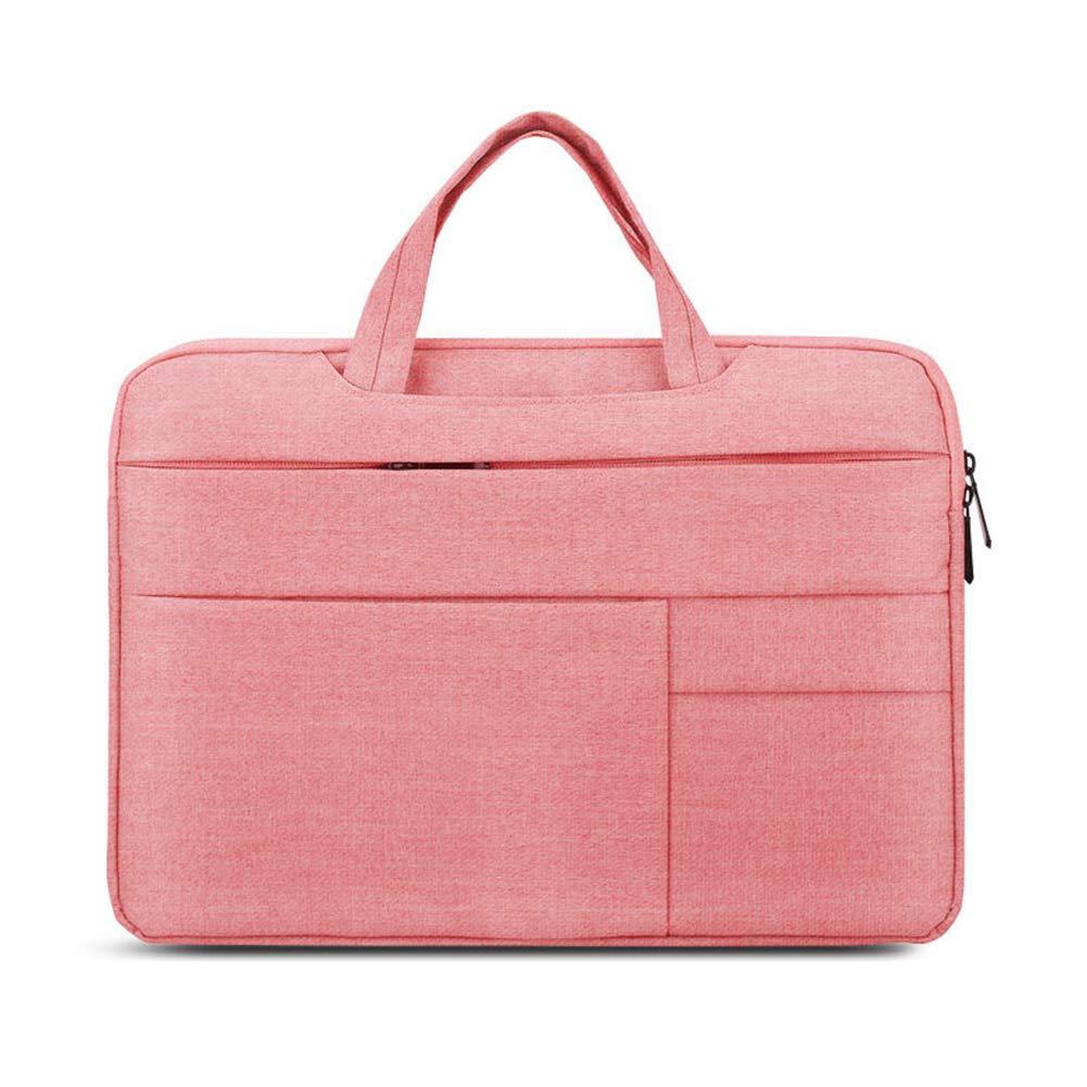 RONSHIN Multi Functional Laptop Computer Shockproof Storage Bag Business Simple Design Laptop Handbag Gifts Multifunctional - pink 15.4 inches