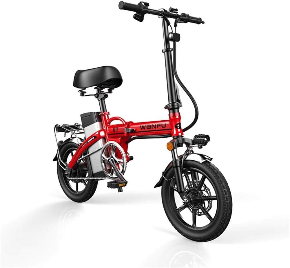 Bicicleta Eléctrica Plegable Adulto 14 pulgadas marco de las ruedas de aleación de aluminio portátil plegable bicicleta eléctrica con extraíble 48V de iones de litio Potente motor sin escobillas Bicic