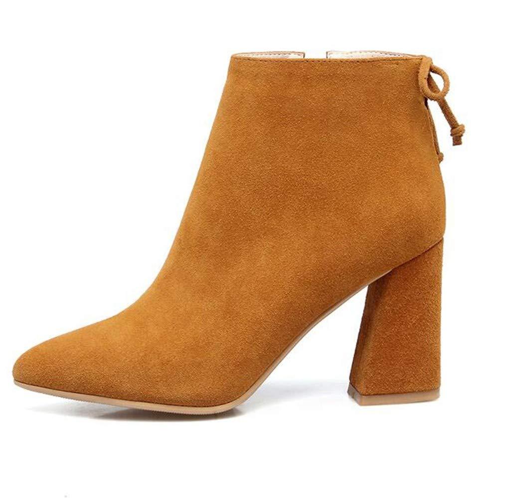 HCBYJ High Heels Herbst und Winter PU-Baumwolle Leder High Heels 8cm und Stiefeletten Damenschuhe Mode rotbraun Damen Stiefel
