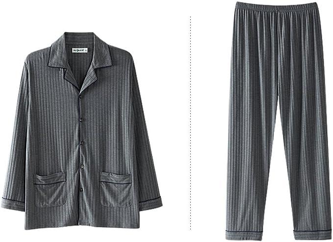 Conjunto De Pijama De Modal De Algodón Hombres, Pijama De Dormir Manga Larga Botón Abajo Loungewear con Pantalones Largos De Albornoz Suelto: Amazon.es: Ropa y accesorios